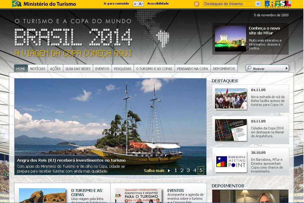 Site da Copa de 2014